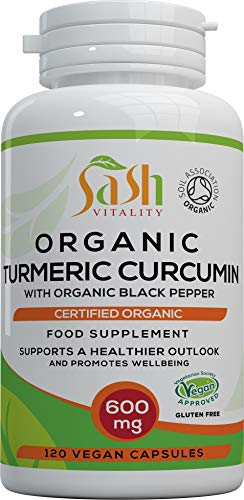 Sash Vitality Organic Turmeric Curcumin 1800mg Per Serving High Strength with Organic Black Pepper | Best Curcumin Absorption | 120 Vegan Capsules | Soil Association Certified Organic Non-GMO from SASH Vitality