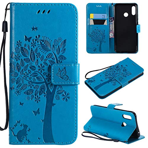 Huawei Nova 3 Case, SATURCASE Cat Tree Embossing PU Leather Flip Magnet Wallet Stand Card Slots Protective Case Cover with Hand Strap for Huawei Nova 3 (Blue) from SATURCASE