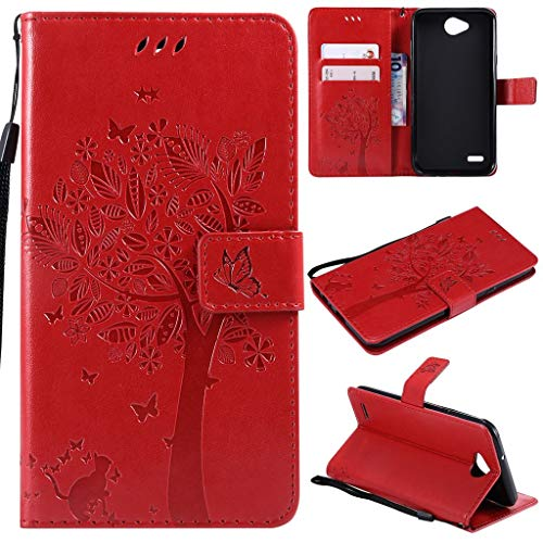 LG X Power 2 Case, SATURCASE Cat Tree PU Leather Flip Magnet Wallet Stand Card Slots Protective Case Cover with Hand Strap for LG X Power 2 (Red) from SATURCASE