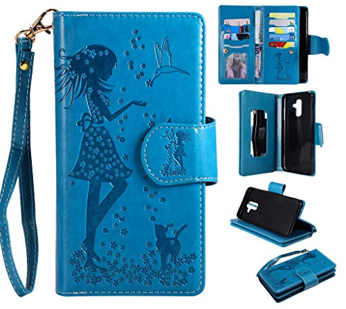 Samsung Galaxy A6 Plus (2018) Case, SATURCASE Beautiful Girl PU Leather Flip Magnet Wallet Stand Card Slots Multifunction Case Cover with Hand Strap for Samsung Galaxy A6 Plus (2018) (Blue) from SATURCASE
