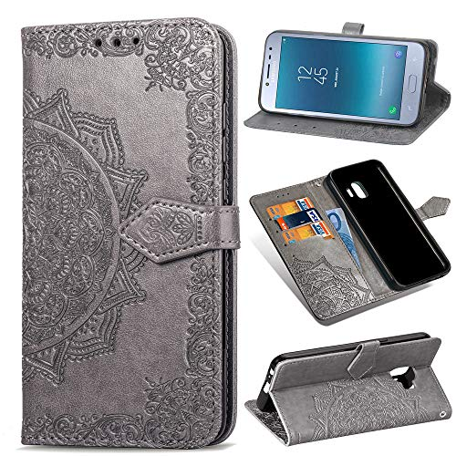 Samsung Galaxy J2 Pro (2018) Case, SATURCASE Mandala Embossing PU Leather Flip Magnet Wallet Stand Card Slots Protective Case Cover with Hand Strap for Samsung Galaxy J2 Pro (2018) (Gray) from SATURCASE
