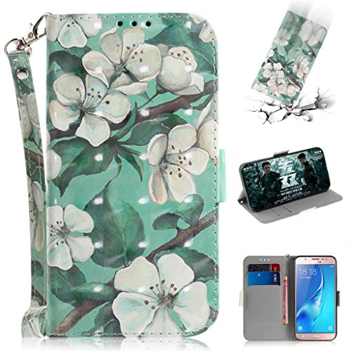 Samsung Galaxy J5 (2016) Case, SATURCASE Beautiful 3D Pattern PU Leather Flip Magnet Wallet Stand Card Slots Protective Case Cover with Hand Strap for Samsung Galaxy J5 (2016) (TD-1) from SATURCASE
