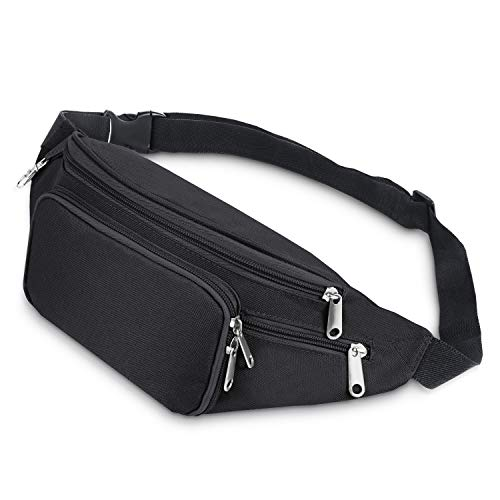 SAVFY Bum Waist Bag 4 Zip Pockets Travel Hiking Outdoor Sport Bum Bag Holiday Money Hip Pouch(Black) from SAVFY