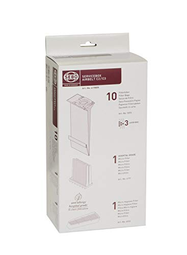 Sebo 6198ER Service-Box for Airbelt C2/ C2.1/ C3/ C3.1 includes 10 Filter Bags 3 Layer 1 Hospital Grade Filter and 1 Micro Hygiene Filter from SEBO