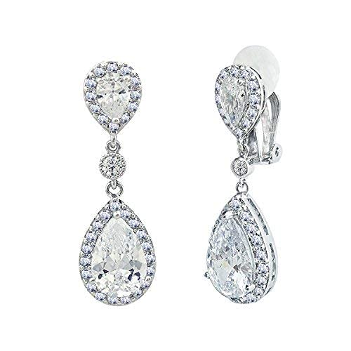 SELOVO Bridal Cubic Zirconia Clip-on Dangle Earrings Clear CZ Crystal Girls Women Jewelry from SELOVO