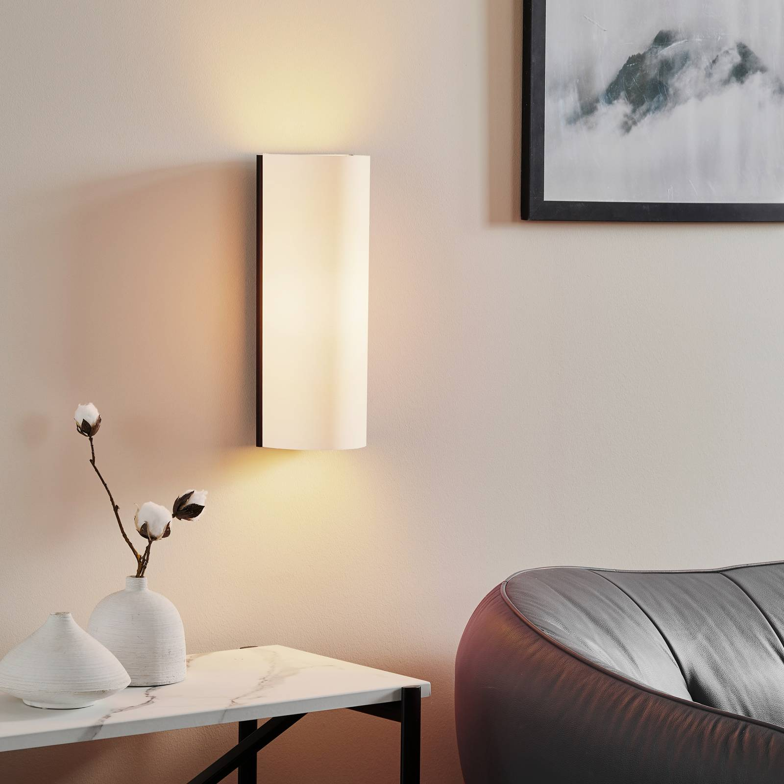 White designer wall light Club, fabric lampshade from Serien Lighting
