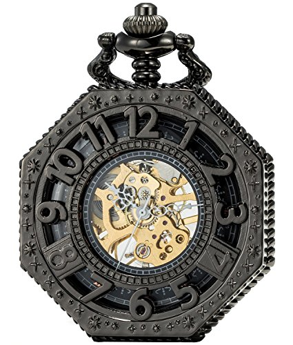 SEWOR Octagon Vintage Bat Style Mechanical Hand Wind Pocket Watch Halloween Gift (Black) from SEWOR