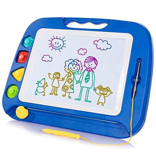 SGILE Large Magnetic Drawing Board - Erasable Scribble Board Colorful Magna Doodle Writing Etch Sketch Pad Learning toys for Kids Children Toddlers, 41.5×31.5 cm,Blue from SGILE