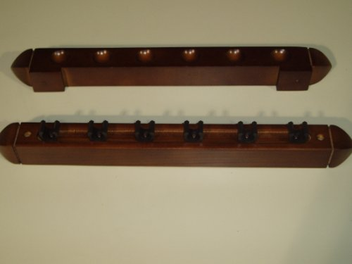 2 PIECE MAHOGANY POOL/SNOOKER CUE RACK HOLDS 6 CUES ** from SGL