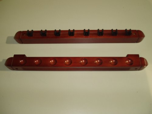 2 PIECE MAHOGANY POOL/SNOOKER CUE RACK HOLDS 8 CUES ** from R.L.B.C Sales