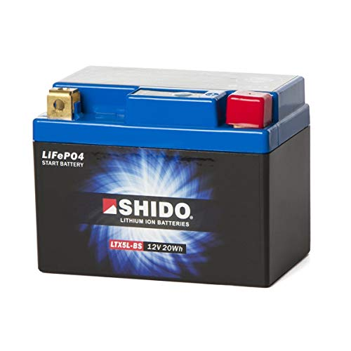 SHIDO LTX5L-BS LION -S- Lithium Ion Motorcycle Battery 12V 20WH from SHIDO