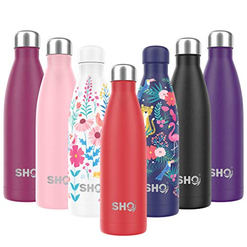 SHO Bottle - Ultimate Vacuum Insulated, Double Walled Stainless Steel Water Bottle & Drinks Bottle - 24 Hrs Cold & 12 Hot - Sports Vacuum Flask BPA Free (Volcanic Red 2.0 - Powder Coated, 375ml) from SHO