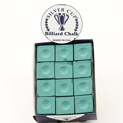 BOX 12 PIECES GREEN HIGH QUALITY SILVER CUP CUE CHALK. from SILVER CUP CHALK