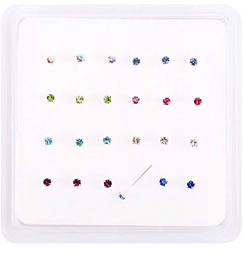 Pack 24 sterling silver nose studs clawset jewel(jewels can not fall out) 8 cz jewels 3 of each colour jewel 10mm posts which can be bent into L shape to hold nose stud in place jewel size 1.8mm from SILVER ROCK JEWELLERY