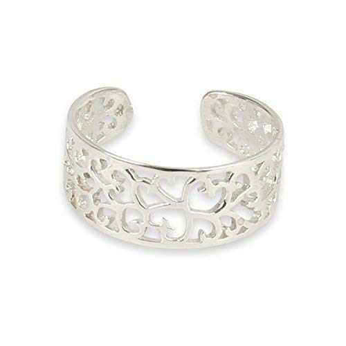 Solid 925 Sterling Silver Filigree Leaf Pattern Toe ring comes Gift Boxed from Silver Rock Jewellery
