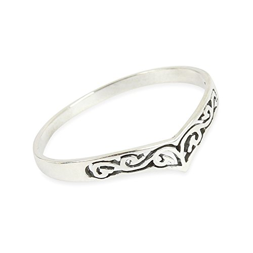 Solid 925 Sterling Silver Wishbone Pattern Ring in sizes G-Z (V) from SILVER ROCK JEWELLERY