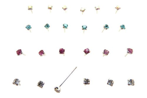 pack of 24 sterling silver clawset nose studs 4 colour jewel clear,pink.aquablue,ab 6 of each colour from SILVER ROCK JEWELLERY