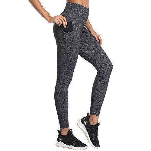 High Waist Leggings, SIMIYA Womens Running Tights With Pockets Power Stretch Yoga Pants Slim Fit Sports Trousers (Grey, M) from SIMIYA