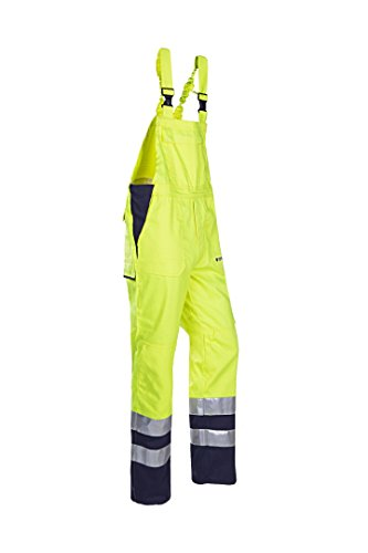SIOEN 015VN2PFA049P48 Bayonne bib and brace with ARC protection, Short 48, Hi-Vis Yellow/Navy from SIOEN