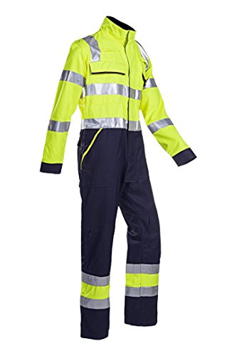SIOEN 026VN2PF9049I46 Fareins Hi-Vis Coverall with ARC Protection, Long 46, Yellow/Navy from SIOEN