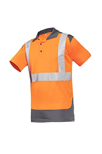 SIOEN 3872A2MBE984L Levane Hi-Vis Polo-Shirt, Large, Orange/Anthracite from SIOEN