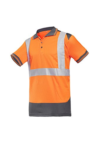 SIOEN 3887A2MV1984L Piras Hi-Vis Polo-Shirt, Large, Orange/Anthracite from SIOEN