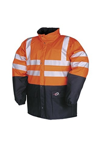 SIOEN 4303A2FE0062M Carmaux Hi-Vis Rain Jacket, Medium, Hi-Vis Orange/Navy from SIOEN