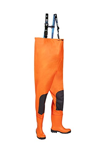 SIOEN 704AA2B17FC1V42 Gyleen Hi-Vis Chest Wader with Safety Boots, V42, Orange from SIOEN