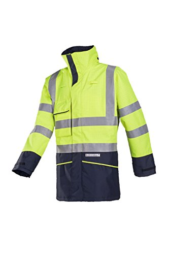 SIOEN 7223A2EF7278M Hedland Flame retardant anti-static rain jacket, Medium, Hi-Vis Yellow/Navy from SIOEN