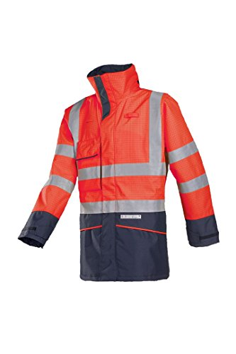 SIOEN 7223A2EF7815S Hedland Flame retardant anti-static rain jacket, Small, Hi-Vis Red/Navy from SIOEN