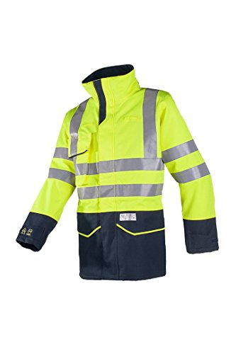 SIOEN 7227A2LK2143S Nash Hi-Vis Rain Jacket with ARC Protection, Class 1, Small, Yellow/Navy from SIOEN