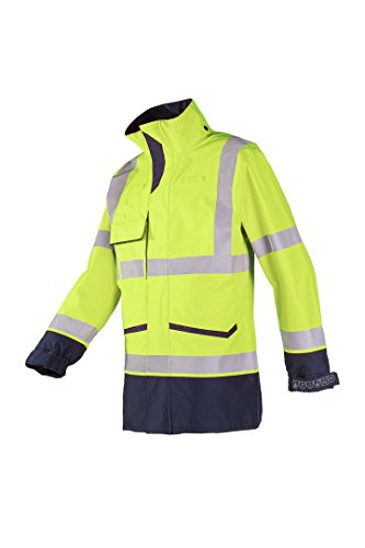 SIOEN 7229A2ET12782XL Falcon Hi-Vis Rain Jacket, Anti-Static and Flame Retardant, XX-Large, Yellow/Navy from SIOEN