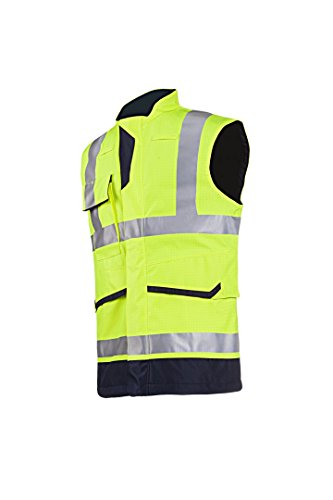 SIOEN 7231A2ET1278M Flaxton Hi-Vis Body-Warmer, Anti-Static and Flame Retardant, Medium, Yellow/Navy from SIOEN