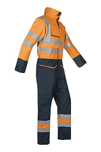 SIOEN 7253A2EF7279L Carret Flame Retardant Anti-Static Hi-Vis Rain Winter Coverall, Large, Hi-Vis Orange/Navy from SIOEN