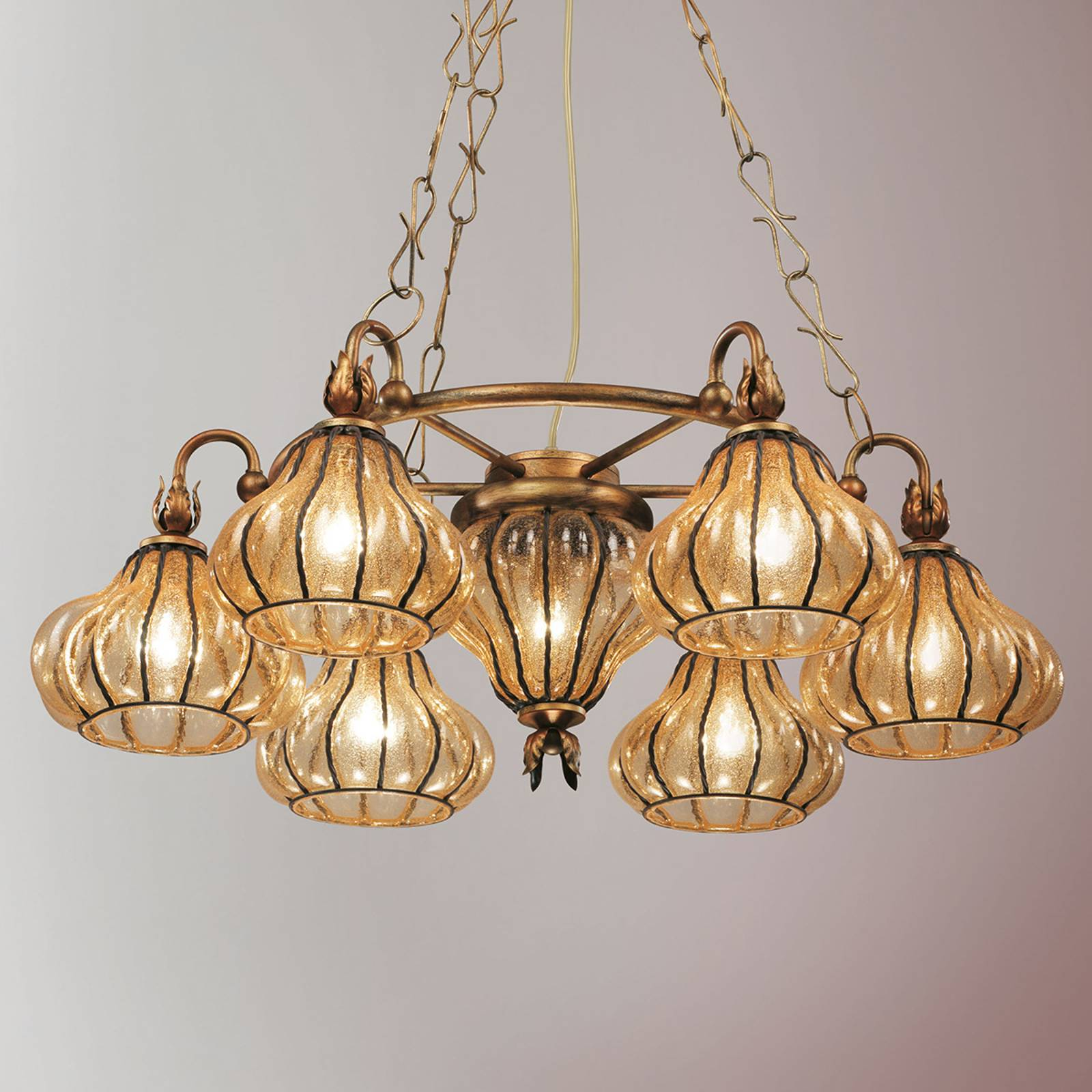 Carro hanging light with seven glass lampshades from Siru
