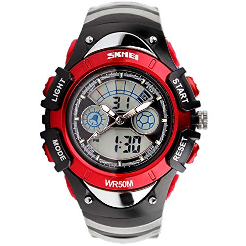 SKMEI Girls Boys Red Digital Watch 30m Water Resistant Dual Display Stopwatch Alarm Ages 5-13 from SKMEI