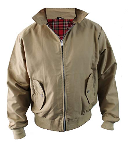 Harrington Jacket Classic/Retro/Mod/Scooter by SKYTEXUK, 10 Colours, Sizes XS - 8XL (5XL, Taupe) from SKYTEX UK
