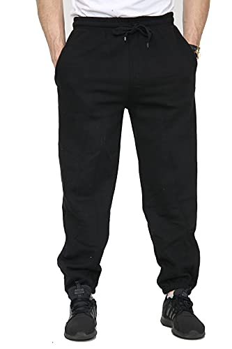 Mens Fleece Jogging Bottoms S-6XL (M, Black) from SKYTEX UK