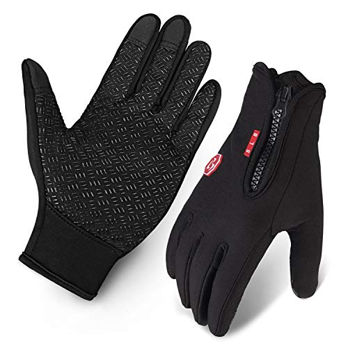 Cycling Gloves, Waterproof Touchscreen in Winter Outdoor Bike Gloves Adjustable Size- Black (Medium) from SLB