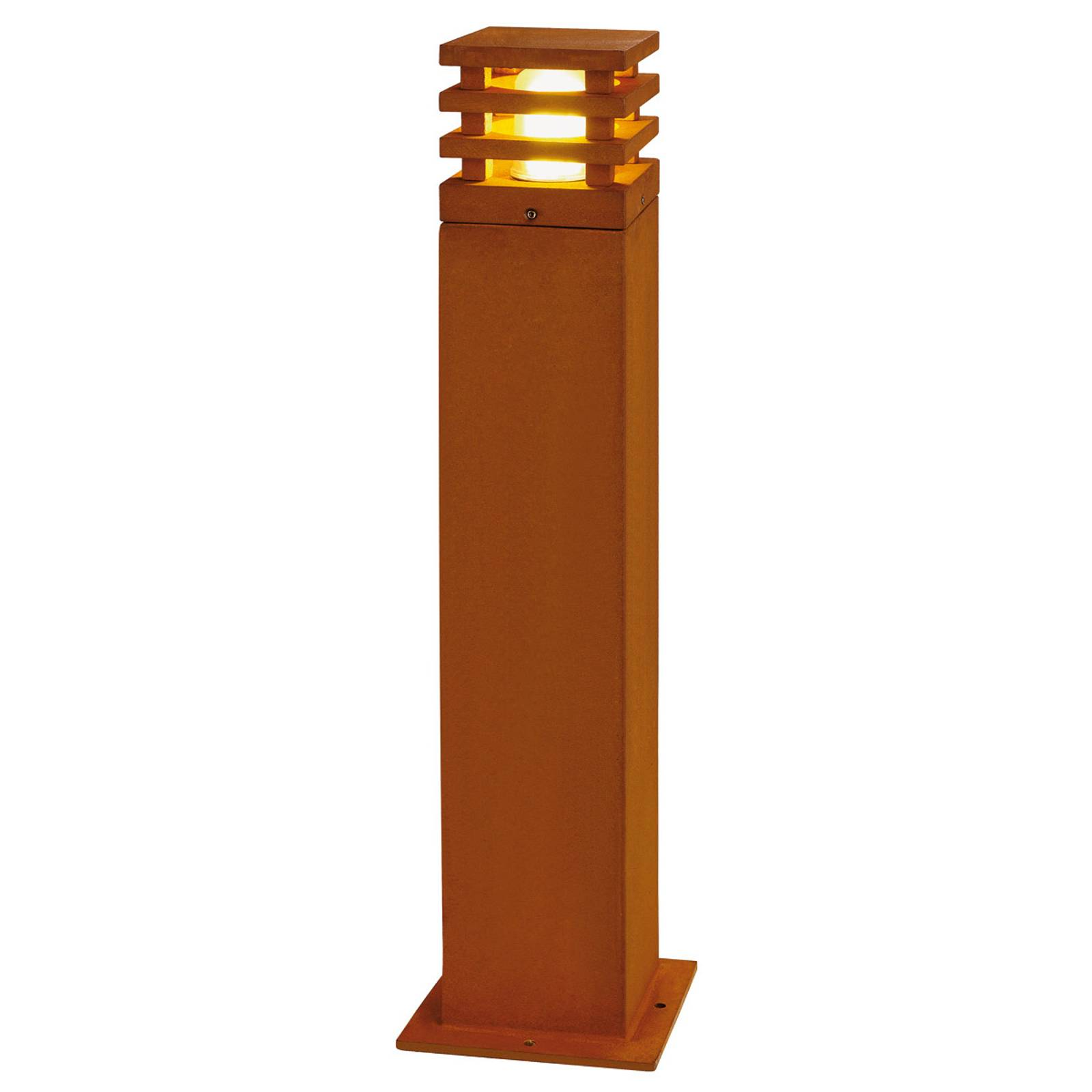 Country-style Rusty LED path light, square from SLV