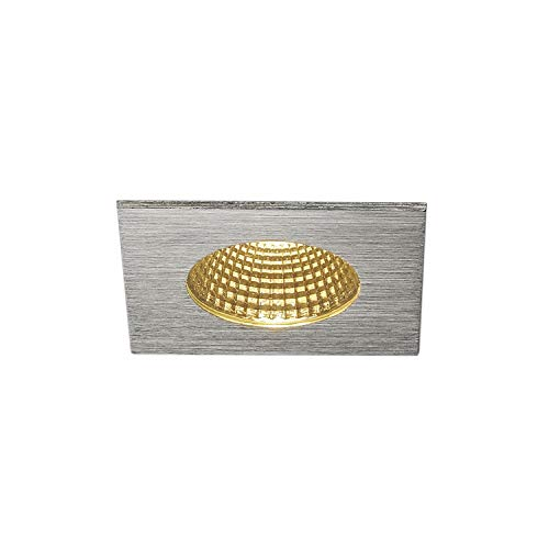 SLV Patta I Square 12 W LED Ceiling downlight COB 38 ° 3000 K, IP65, with Driver Brushed Aluminium 114436 from SLV