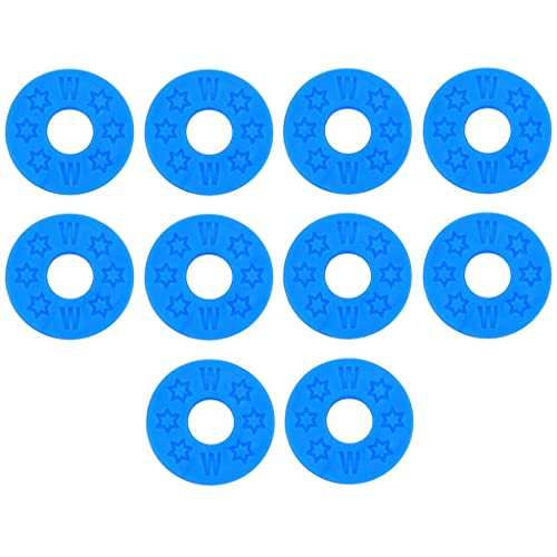 10 Pcs Rubber Strap Lock Block Washer Gasket for Acoustic Electric Guitar Bass Replacement Parts - Blue, as described from SM SunniMix
