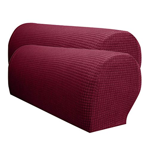 SM SunniMix 2 x Waterproof Spandex Stretch Armrest Covers Couch Armchair Arm Protector - Burgundy from SM SunniMix