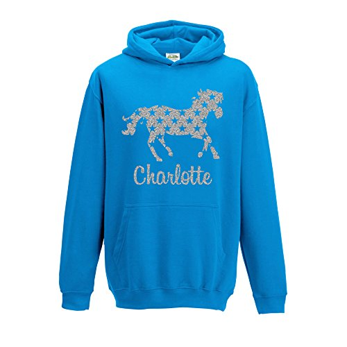 [ Kids ] Personalised Horse Silver Glitter Hoodie Choose Your Name and Colour (7-8, Sapphire Blue) from SMARTYPANTS