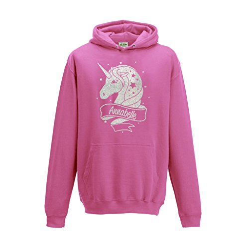 [ Kids ] Personalised Unicorn White Glitter Hoodie Choose Your Name and Colour (7-8, Pink) from SMARTYPANTS