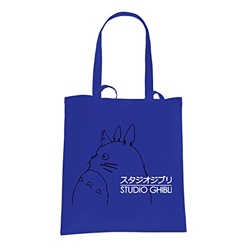 Studio Ghibli Totoro Logo Inspired Blue Tote Bag from SMARTYPANTS