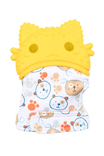 SMTD Baby Boys&Baby Girls Food Grade Silicone with Crinkle Sound Teething Mitten Baby Mitten Teether Toys Baby Music Silicone Teether Mitten Soothing Pain Relief (1 Pack) Yellow 02 from SMTD