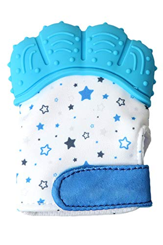 SMTD Boys&Girls Teething Mittens Prevent Scratches Protection Gloves for 3-12 Months Infant Soothing Teething Mitten with Hygienic Travel Bag (1 Pack) Blue from SMTD