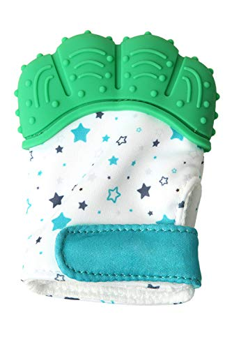 SMTD Boys&Girls Teething Mittens Prevent Scratches Protection Gloves for 3-12 Months Infant Soothing Teething Mitten with Hygienic Travel Bag (1 Pack) Green from SMTD