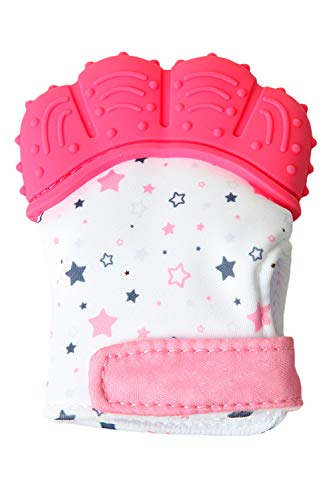SMTD Boys&Girls Teething Mittens Prevent Scratches Protection Gloves for 3-12 Months Infant Soothing Teething Mitten with Hygienic Travel Bag (1 Pack) Pink from SMTD